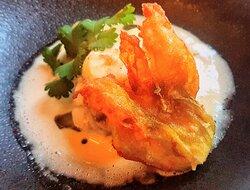 Monkfish with artichoke and fried zucchini flower