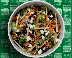 Harvest Salad Beets, Green Apple, Walnut, Dried Cranberries, Carrots,Goat Cheese, Freshii Mix served with Honey Dijon Dressing.