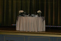 The Bride and Groom Table on the stage, the Barnoff Room is where the Reception Room was held.
