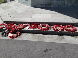 Remembrance day wreaths at Barr Beacon War Memorial