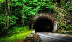 Tunnel near Mortons Overlook highway 441 from Gatlinburg to Cherokee NC