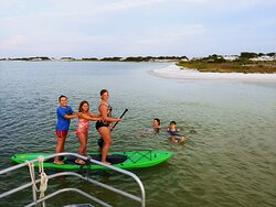 We offer paddle boarding, snorkeling and water slide.