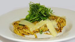 From our valentines menu - Red pesto linguine, fresh rocket with Parmesan shavings