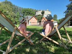 Venez prendre un bol d'air frais au Domaine du Château de Monthoironà l'ombre d'arbres centenaires...
