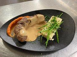 Bœuf cheddar purée de carotte et risotto