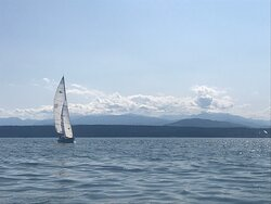 Great views of both Olympic Mountains and the Cascades from Port Townsend Bay
