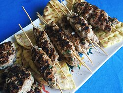 Homemade kebab with fresh herbs!