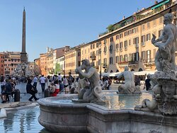 View looking down Piazza Navona from the Fountain of the Moor