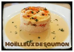 Moelleux de saumon et sa bisque de crevettes maison