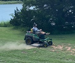 If you want a job mowing at Roman Nose State Park, all you need is a YETI cooler and iPods. I assume they furnish all the rest. This guy was bouncing along at high speed, doing a good job and seemed to be enjoying his day.