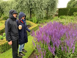 Guests enjoying the flowers and gardens in Yorkshire