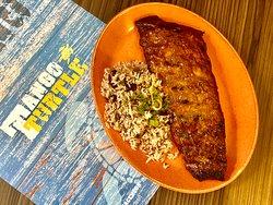 Jerk Rib with rice & peas