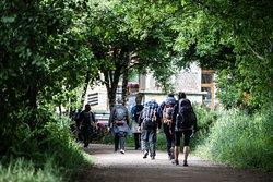 Pilgrims walking up to Tabernavella.