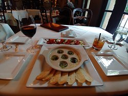 Escargot with caprese salad, Robert Hall Cabernet, and an Old Fashioned. All were very good!
