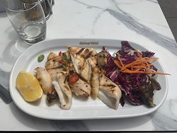 Calamari alla Brace - Fresh chargrilled squid with red chillies and lemon