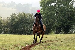 Riding Flip up the hill for a XC lesson with Jill