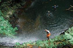 Rappeling in blue lagoon of samba canyon