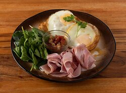 Baked eggs and ham with locally made relish and balsamic.