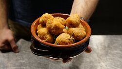 PITTULE  (V) Homemade deep-fried dough balls, capers, olives and tomatoes