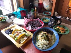 """""""Dinner"""": shrimp tacos, grilled chicken enchiladas with rice and beans, side salad and drinks.....HUGE portions, great quality, food heaven!!!!!!"""