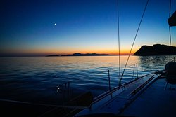 the boat after sunset