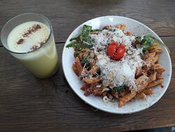 Golden milk & pasta with parmesan & walnuts