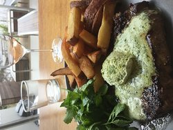 Fillet steak with hand cut fries and butter