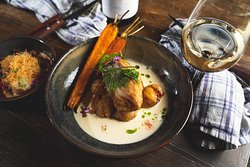 Cod with white wine sauce, baked carrots, potatoes, horseradish, herb oil, chervil.
