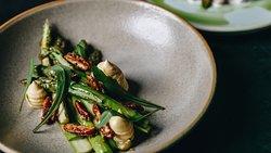 Asparagus, Blue Cheese Custard, Candied Pecans
