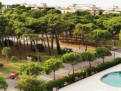 panoramica da stanza 523 su parco Anello del Pino