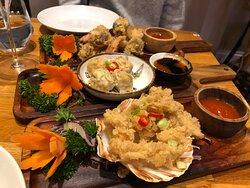 Tempura and dumpling shared starter
