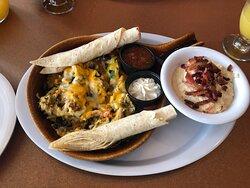 Southwest scramble with bacon gouda grits