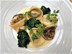 Quail ravioli, spinach, lemon