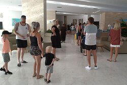Daily breakfast queue through reception during COVID times...
