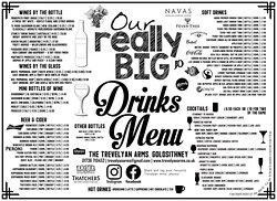 Trevelyan Arms' Drinks Menu side 1 of 2