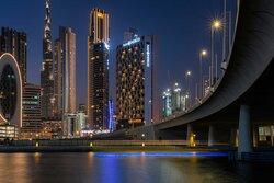 Hotel Indigo Dubai Downtown exterior with views of Dubai Creek