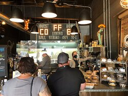 Homemade coffee of every description and type. Great iced coffee my wife and I . Located on Church Street in Burlington North Carolina small and cozy little place. Plenty of room to sit inside even with the virus and social distancing.
