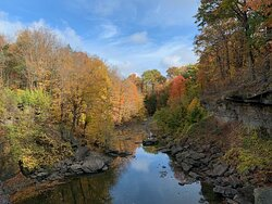 Looking down Twenty Mile Creek from atop the Upper Falls.  October 2020.