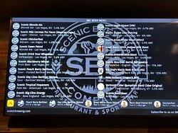 Beer menu shown on large TV monitor