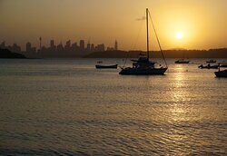 South Head Heritage Trail: the Sydney skyline from Watson's Bay, at sunset