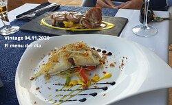 Bacalao con cebolla caramelisada Chules de pavo con salsa de champiñones