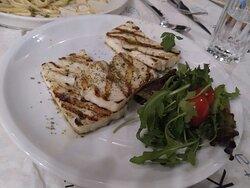 salmon pasta and halloumi