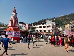 View of Mansa Devi Temple on hill from Har ki Pauri