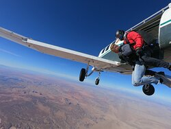 Jumping out of the plane for he first time ever.