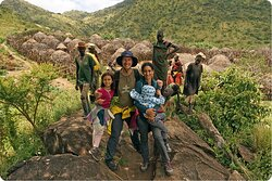 Our family posing along the trek to Ik villages in northeastern Karamoja region.