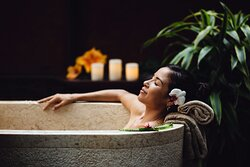 Soak you cares away in our Private bath house for 2. Features 8ft. long Roman baths for ultimate relaxation.