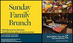 You don't want to look back and say oh! we could have eaten here. On Sundays We BRUNCH.... Come with your Family/Friends.  #gtph #goldentulip #phc #hotel #familybrunch