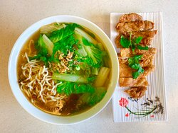 Deep Fried Chicken Fillet with Noodle Soup