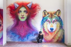 """Lupus in fabula"" Maria spraypaint on wall - 2020 Instagram: caktusemaria FB Fanpage: Caktus & Maria Artwork"