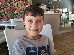 Kyson enjoyed his milkshake!